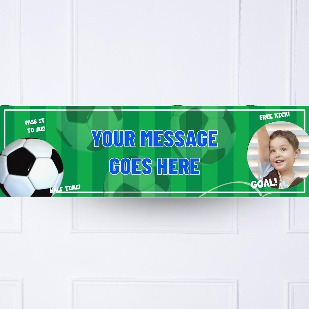 Football Mania Personalised Party Banner Blue