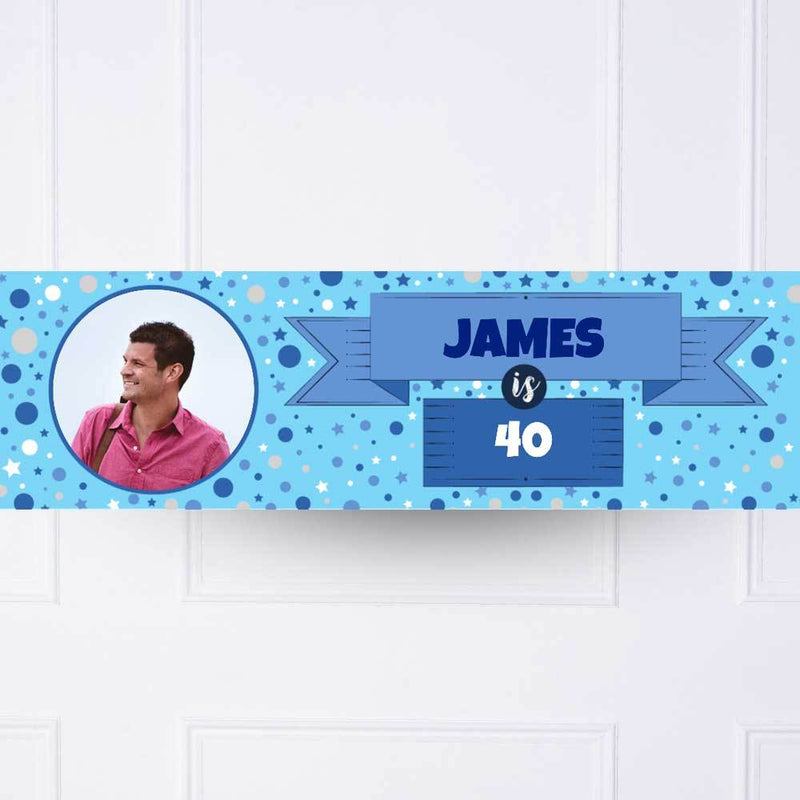 Blue Age Personalised Party Banner