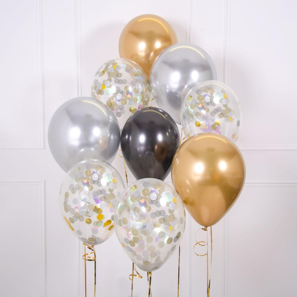 Click to view product details and reviews for Confetti Balloon Bouquet Gold Celebration.