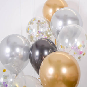 Confetti Balloon Bouquet - Gold Celebration