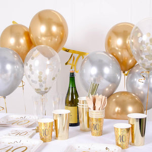 Confetti Balloon Bouquet - Silver & Gold