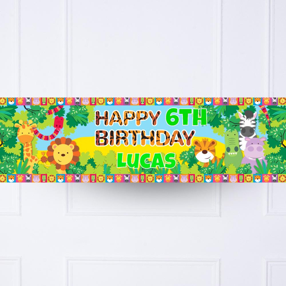 Jungle Friends Personalised Party Banner