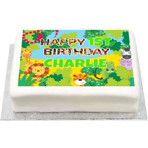 Personalised Photo Cake - Jungle Friends 1st Birthday