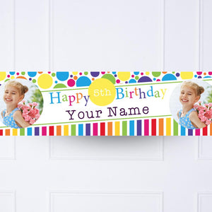 Kids Bright and Bold Personalised Party Banner