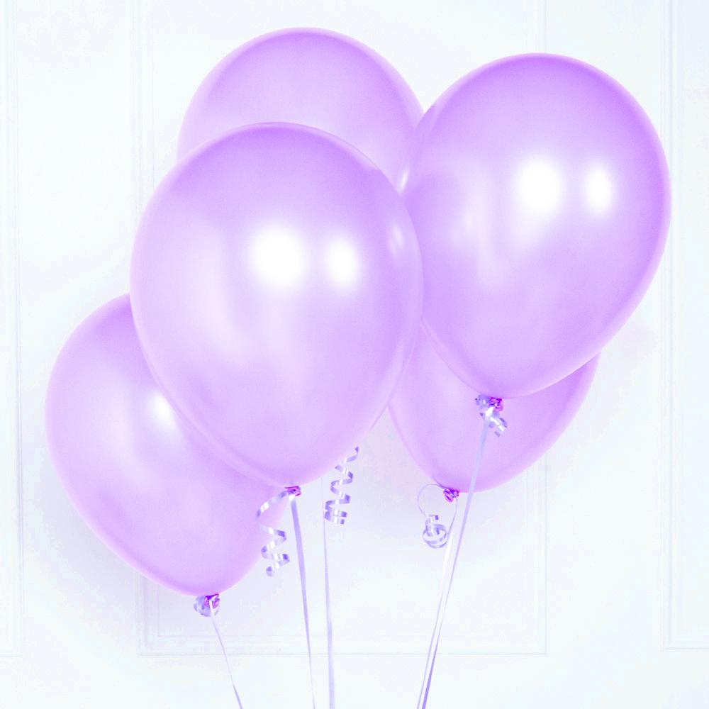 A bunch of 5 metallic purple latex party balloons