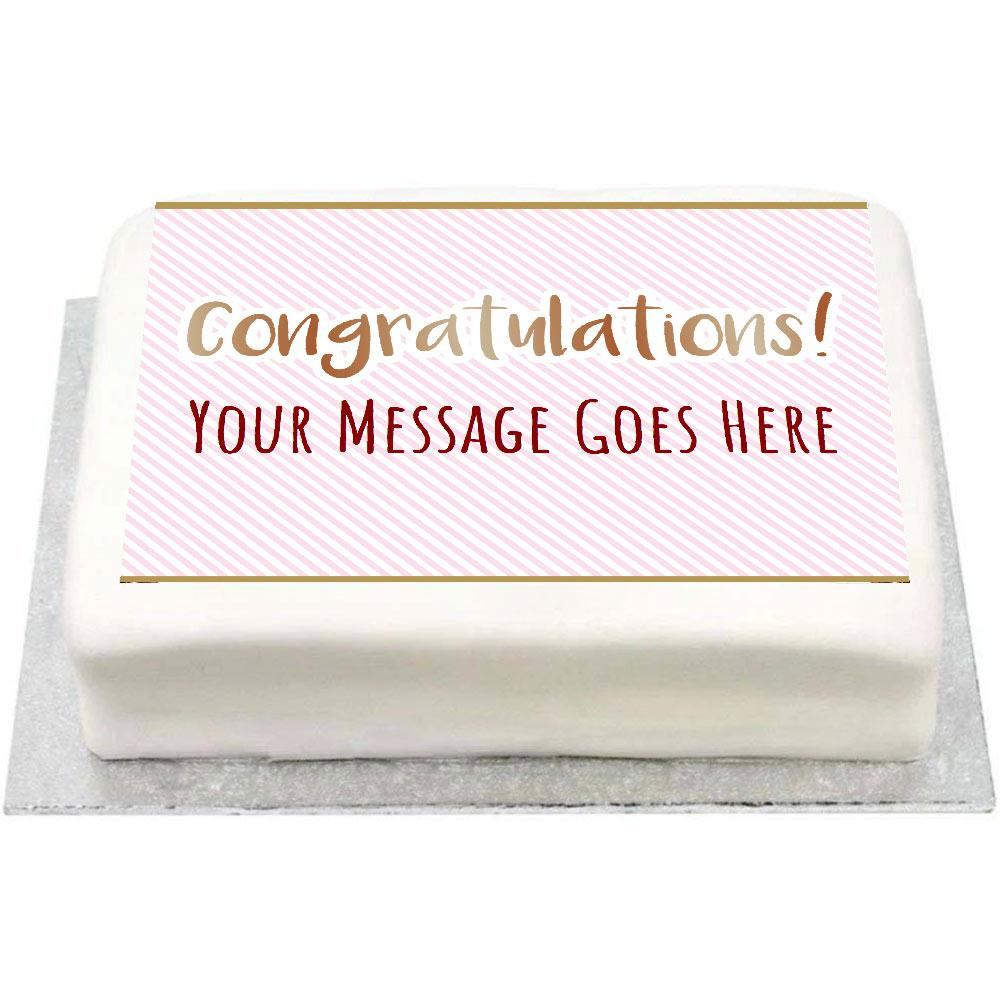 Personalised Photo Cake - Pink Pastel Congratulations