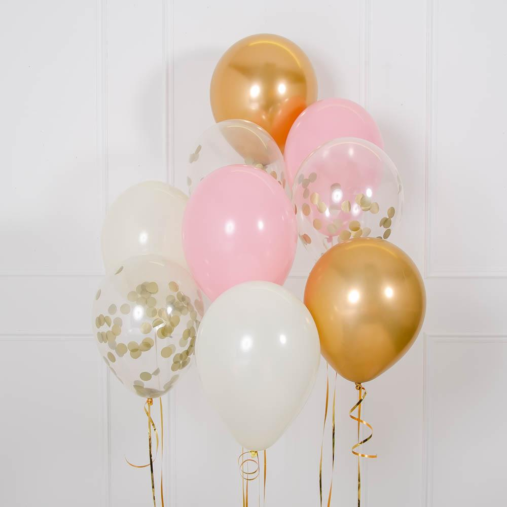 Click to view product details and reviews for Confetti Balloon Bouquet Pink Gold.
