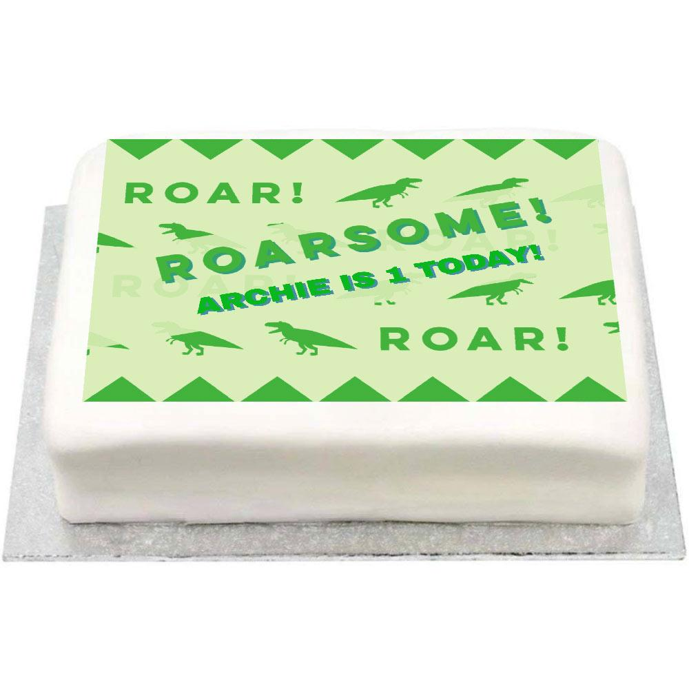 Personalised Photo Cake - Roarsome 1st Birthday