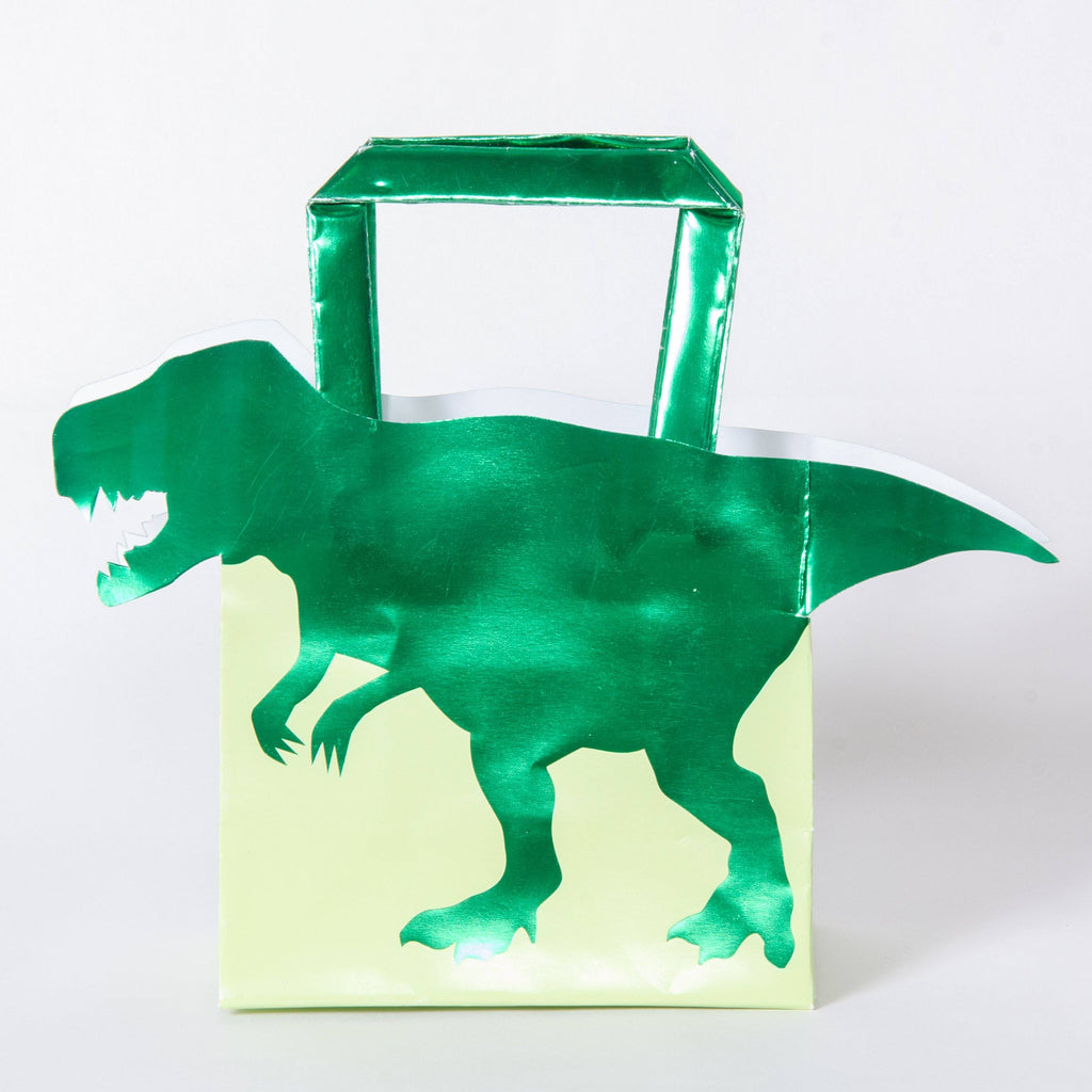 A Dinosaur-themed party bag with a green foil T-Rex design
