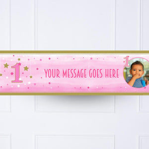 One Little Star Pink Personalised Party Banner