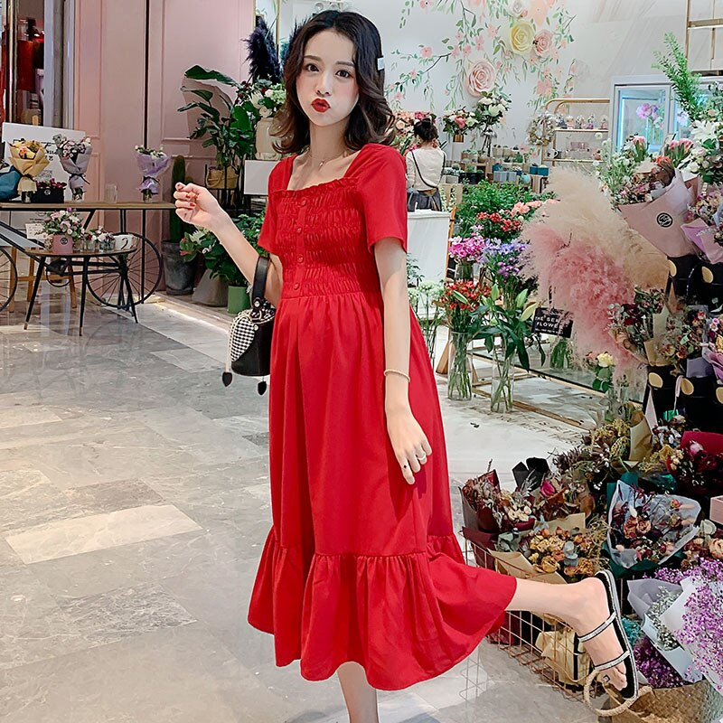 Elegant Summer Red Maternity Dress Bodycon Loose Clothes For Pregnant Women Slim Red Pregnancy Dresses Party Long Dress Drop Shipping Red Maternity Party Dress Swansstyle