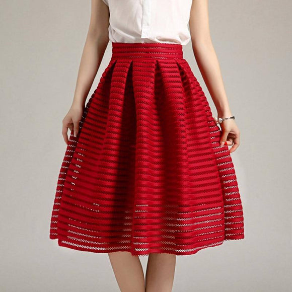 2017 Large Size Summer Style Vintage Skirt 2020 Solid Reds Women Skirt 2020 Casual Hollow Out Fluffy Pleated Female Ball Gown Long Skirt 2020