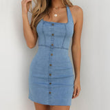 Sleeveless Denim Dress 2020 Casual Sheath Denim Mini Dress With Button Bodycon Sleeveless Empire Spaghetti Strap Halter Denim Dress 2020