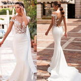 Bohemian Mermaid Wedding Dress 2020 Satin Cap Sleeve Wedding Dresses Vestido De Noiva Lace Bride Dresses With Romantic Buttons