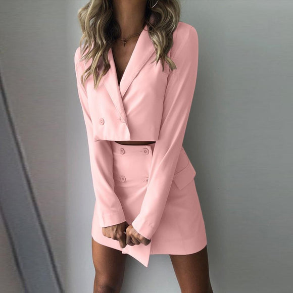 Slim Fit Women Blazer 2020 Mujer Women Two Piece Suit Short Jacket+Skirt Hip Slim Fit Coat High Waist Skirt Set 2020 Blazer Feminino
