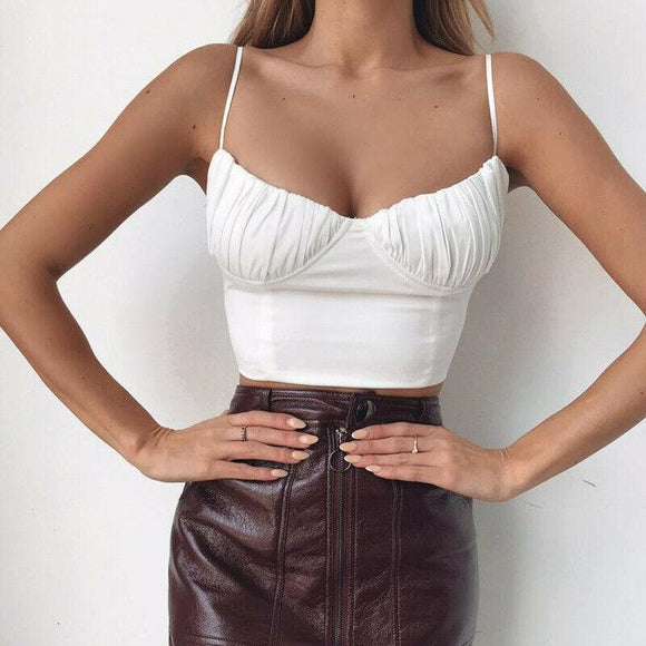 White Crop Top 2020 Hot summer women lady camis fashion Sleeveless Push-up Cropped vest top Sexy Club Bandage Casual backless solid white black Sleeveless Tank Top   Swansstyle
