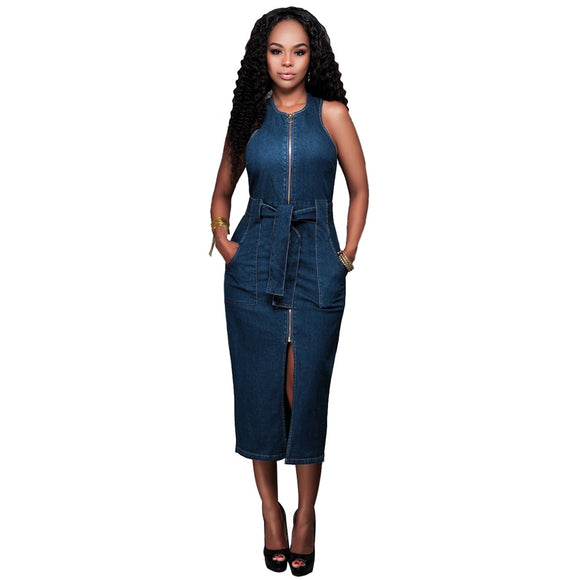 Midi Denim Dress 2020 New Summer Women Jeans dress Solid Denim Dress Sexy Sleeveless O Neck Lady Party Dress 2020 Casual Zip up Ladies Summer Dress