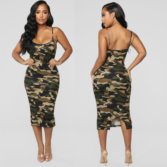 Newest Fashion Summer Dress O Neck Camouflage Bodycon Dress 2020 Womens Sleeveless Sundress 2020 Midi Camo Dress Ladies Summer Beach Casual Party Dress