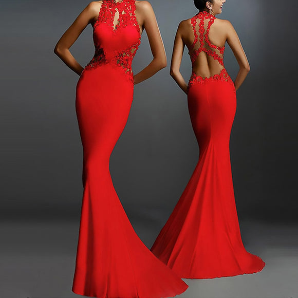 Backless Red Prom Dresses Women Fashion Party White Long dresses Halter Patchwork Hollow Sleeveless Mermaid Red Prom Dress robe femme 0.4