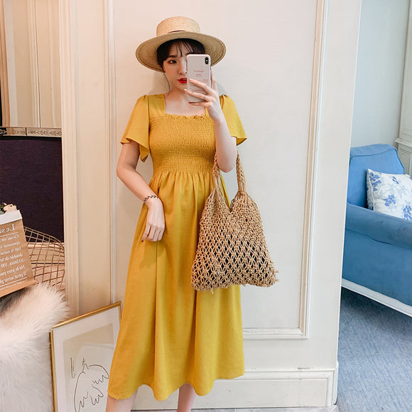 Summer Dress for Pregnant Woman Solid Color Square Collar Stretched High Waist Maternity Yellow Chiffon Dress Yellow Pregnant Dress Sweet Blue Maternity Dress