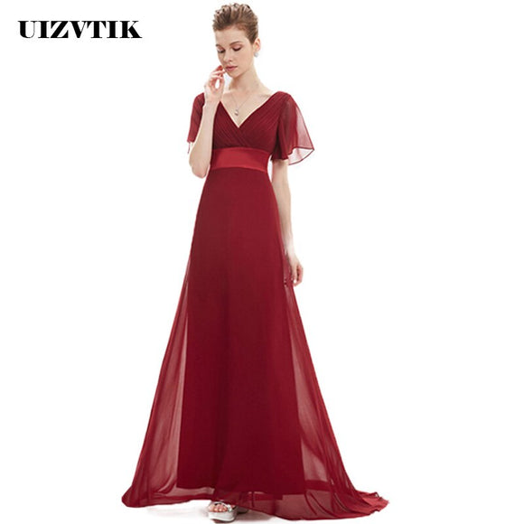 Chiffon Prom Dresses 2020 Elegant Sexy V Neck Bridesmaid Long Party Dress 2020 Casual Plus Size Ball Gown Maxi Dresses