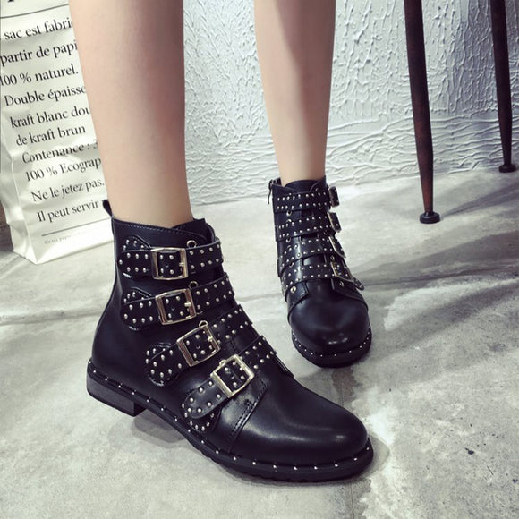 Cheap motorcycle women boots, 2020 Women Ankle Boots Studded Boots Women PU Leather Rivets Booties 2020 Buckle Straps Black Boots Ankle Winter Boot Women