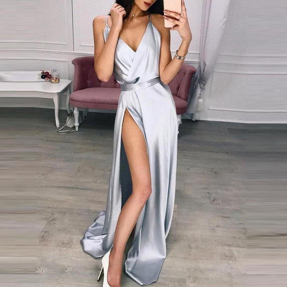 Deep V Neck Sleeveless Women's Dresses Sexy V-neck stitching strap slit dress 2020 Fashion High Waist Open Back Sleeveless Stitching Prom Dress