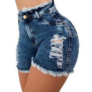 Fashion Sexy Summer Denim Shorts 2020 Women High Waist Jean Shorts 2020 Female Skinny Hole Sexy Jeans Shorts With Pockets Casual Pants   Swansstyle