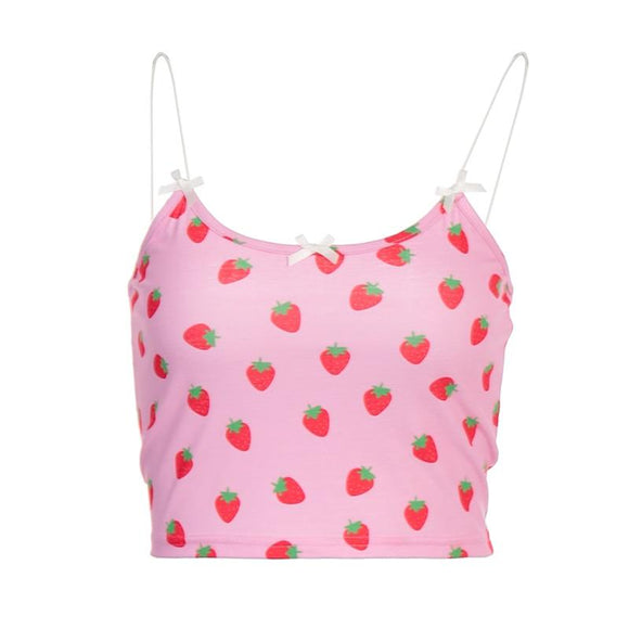 Sweet Strawberry Print Bow Crop Tops 2020 Casual Pink Crop Top Beach Holiday Tanks Sun-tops Strawberry Print Top   Swansstyle