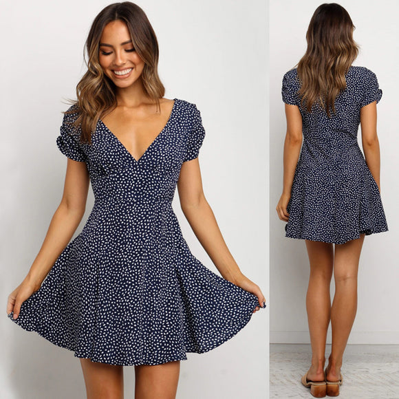 Mini Sexy Dress 2020 Polka Dot Bohomain Ruffle Mini Dress 2020 Sexy V-Neck Dress 2020 Party Summer Beach Holiday Polka Dot Dresses   Swansstyle