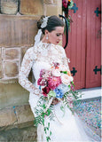 2020 Modest Design Lace Illusion High Neckline Sheath Wedding Dresses Long Sleeves Floor Length Bridal Dress Custom Made
