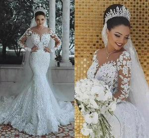 Wedding Dresses 2020 New Illusion Long Sleeve Mermaid Wedding Dresses 2020 Sheer Wedding Dress Pearls Beads Lace Sheer Neck See Through Bridal Gown