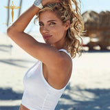New Sexy Fashion Solid Color Camisole T-shirt 2020 White Crop Top Women O-Neck Tank Crop 2020 Slim Top Ladies Navel Crop Top   Swansstyle