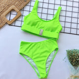 New Sexy High Waist Swimsuit 2020 Women Swimwear Bandeau Push Up Bikini Set 2020 Buckle Bathing Suit Beach Wear Swimming Suit