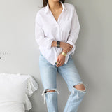 Spring One Pocket Women White Shirt 2020 Female Blouse Tops Long Sleeve Casual Turn-down Collar OL Style Women Loose Blouse 2020