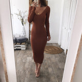 Spring and Autumn Women Bodycon Midi Length Knitted Dresses 2020 Sexy Red Knitted Dress Cotton Long Sleeve Pencil Dress 2020 Pure Black V-neck Long Casual Dress