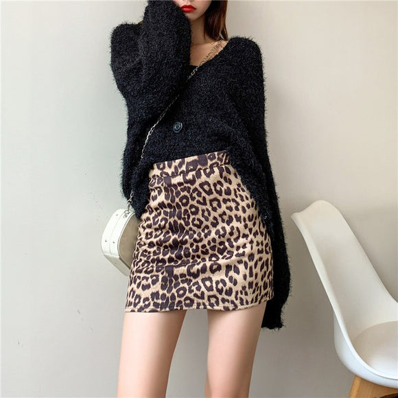 Summer New Outdoor Women'S Leopard High Waist Bag Hip Skirt 2020 Leather Skirt 2020 Skirt 2020 Dance Skirt 2020 Fashion Women'S Tights