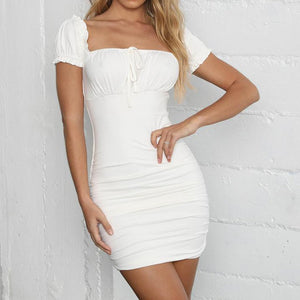 Women Summer Solid Square Neck Mini Dress 2020 Short Sleeve Lace White Dress 2020 Up Ruched Bodycon Mini Dress   Swansstyle