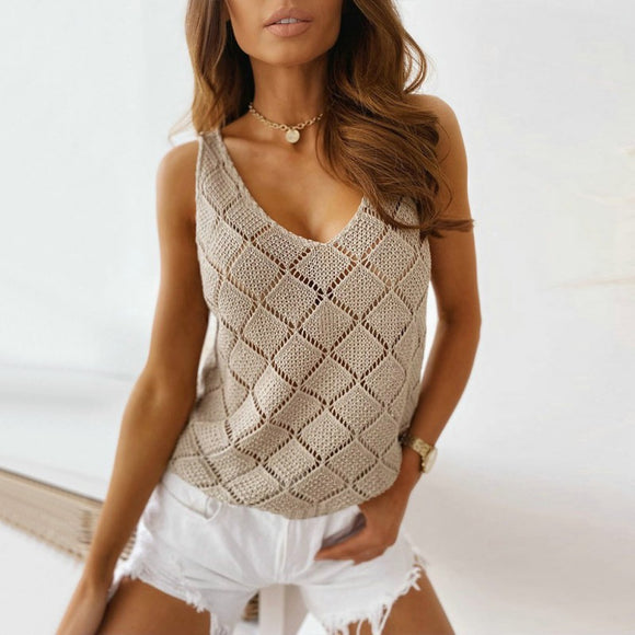 Summer V-Neck Hollow Wild Vest Sweater Top T-Shirt 2020 Suspender Comfy Summer 2020 Knit Top