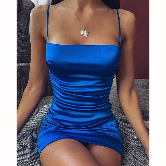 Summer Dresses Strap Satin Mini Dress Women Sexy Backless Cross Bandage Bodycon Dress Pleated Stretch Short Party Dress