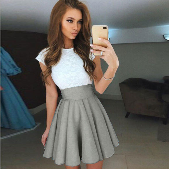 Skater Mini Skirt 2020 Summer Solid High Waist Simple Skater Skirt Ladies Party Cocktail Mini Skirts 2020