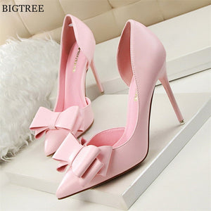 7 Colors Korean Sweet Bowtie Pointed Toe Pumps 2020 New Fashion Patent Leather Sexy Side Cut-Outs Shallow High Heels Shoes 2020
