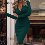 Deep V Neck Long Sleeve Sexy Sheath Bodycon Green Pencil Dress 2020 Prom Long Sleeve Black Sexy Dress   Swansstyle