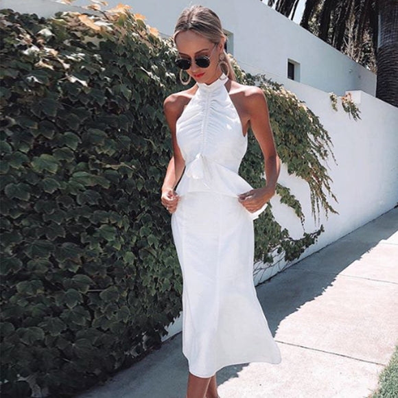 Adyce 2020 New Summer Arrival Women Celebrity Party Dress Sexy Sleeveless White Halter Ruffles Midi Club Mermaid Dress Vestidos