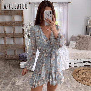 Chiffon Mini Dress Sexy V-neck Floral Print Casual Dress 2020 Chiffon Ruffle sleeve mini dress 2020 V Neck Hollow Out Dress Wrap Casual Summer Holiday Dress   Swansstyle