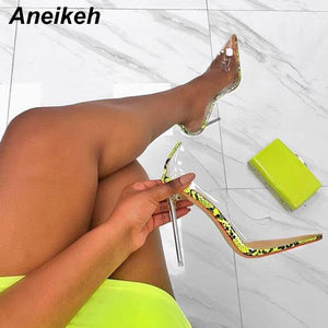 Aneikeh Women Clear Transparent Pumps 2020 Sandals Perspex Heel Stilettos High Heels 2020 Point Toes Shoes Ladies Party Dress Shoes