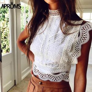 White Lace Crochet Tank Top 2020 Women Summer Sexy High Neck Hollow out Zipper White Crop Top 2020 Slim Fit Tees   Swansstyle