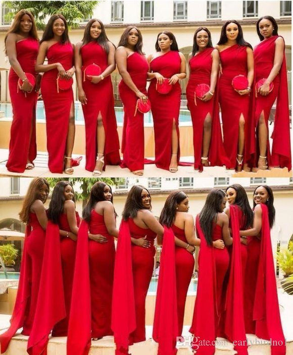One Shoulder Red Draped Split Bridesmaid Dresses & Guest Dresses