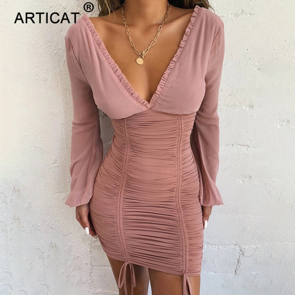 Chiffon Long Sleeve Mini Dress 2020 Sexy Long Sleeve Slim Elastic Bodycon Bandage Dress 2020 Short Pleated Party Dresses