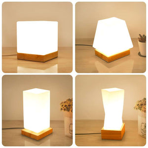 LED Table Lamps 2020 Artpad Japanese style Tatami Nordic Loft Small Desk Lamp 2020 Wood Led Decoration Bedside Table Square Dimmable Desk Night Light Led
